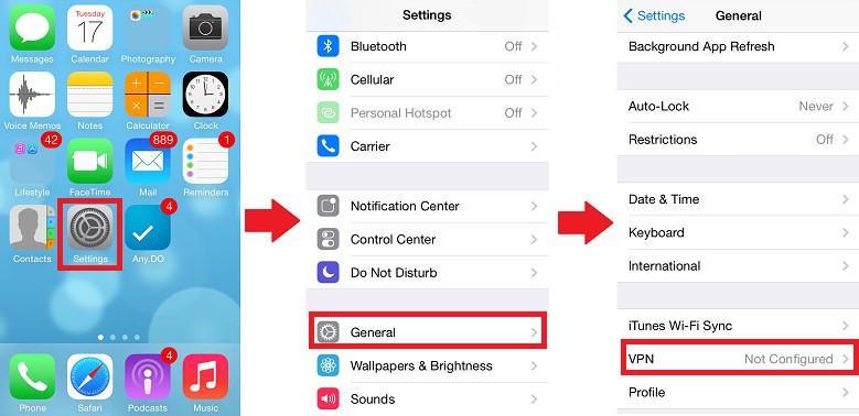 British TV Anywhere iOS Settings -> General -> VPN -> Add VPN Configuration