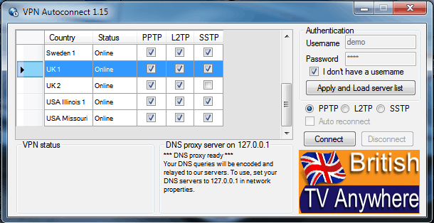 VPN Autoconnect 1.15 user demo and pass demo