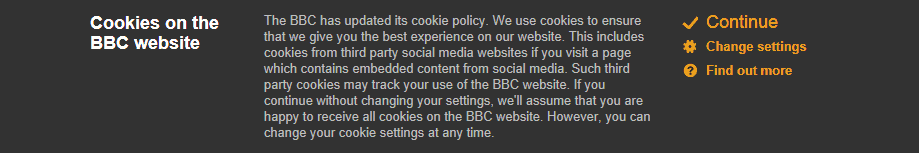 Cookies on BBC website